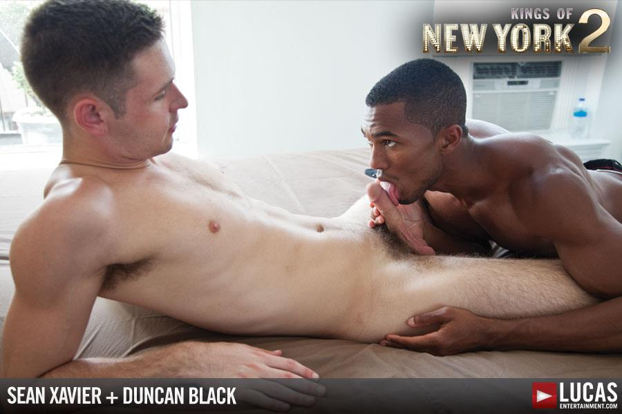 "Lucas-Entertainment-Kings-Of-New-York-Season-2-Sean-Sean-Xavier-and-Duncan-Black-Interracial-Fucking-Big-Black-Cock-Amateur-Gay-Porn-03 White Hunk Takes A 12"" Black Cock Up His Ass and Eats A Load"